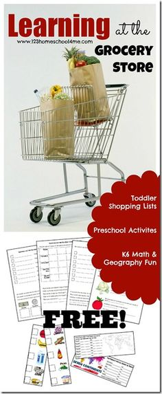 Learning at the Grocery Store - LOTS of {FREE} Printables to help toddler, preschool, Kindergarten, and 1st-6th grade  kids have some educational fun while shopping. (Love the grocery cart math concept!