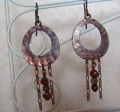 Antique Hammered Copper Earrings by ChristysTreasureBox on Etsy, $18.00