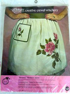 Crewel Stitchery Kit Paragon Needlecraft Rosetta Hostess Apron 0259 Roses NEW