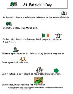 """Brief """"social story"""" to explain St. Patrick's Day....includes a comprehension sheet as well!"""