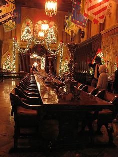Dinning room decorated for Christmas at Hearst castle