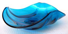 VINTAGE BLUE VIKING GLASS EPIC FREE FORM BOWL - RETRO / MID-CENTURY - MINT - | eBay