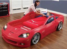 This Corvette Toddler-to-Twin Bed comes with Lights. This bed accommodates a toddler (crib) mattress. It can be easily converted to accommodate a twin mattress. It is for ages 2 to This set includes Dresser & Toy Storage Bins Room Organizer. Toddler Twin Bed, Twin Car Bed, Kids Car Bed, Race Car Bed, Teen Bedroom Furniture, Car Bedroom, Kids Furniture, Kids Bedroom, Kids Rooms