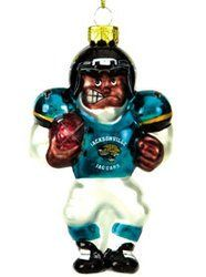 Jacksonville Jaguars Blown Glass Football Player Ornament