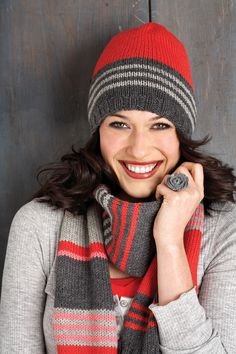 Another cute stripey hat with scarf!
