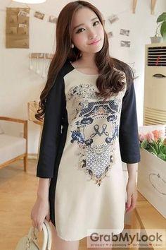 GrabMyLook Retro Vintage Pattern Long Sleeves Tunic Skirt Dress