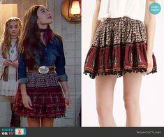 Riley's printed skirt on Girl Meets World. Outfit Details: http://wornontv.net/52922/ #GirlMeetsWorld