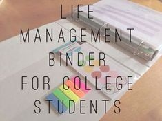 E for Emily : Life Management Binder for the College Student. School Organization Tips For Students College Success, College Hacks, College Life, College Binder, College Dorms, College Football, College Savings, Uni Life, Organized Binder For School