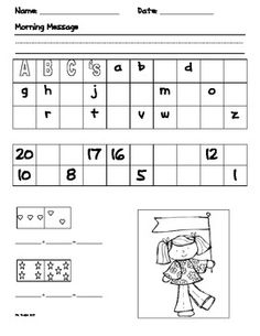 This is a free 5 day pack of morning work for Kindergarten. Each day's morning work includes: -morning message writing -letter practice -number practice: 1-20, 20-1, skip counting by 2's -picture addition -a picture to color