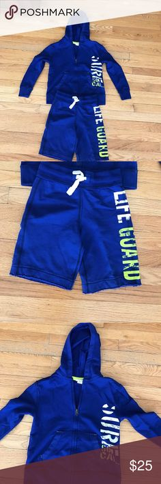 Boys Heavy Hoodie and Short Set NWOT Never worn, deep royal blue zip hoodie says surf so cal and tie waist shorts say life guard in white/yellow. Perfect for sunsets at the beach or pool. Cherokee Shirts & Tops Sweatshirts & Hoodies