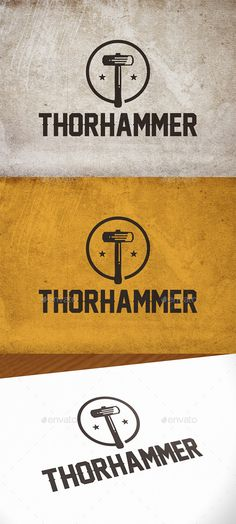 Thor Hammer Logo Template by BossTwinsMusic - Three color version: color, greyscale and single color.- The logo is resizable.- You can change text and colors very easy u Logo Design Trends, Modern Logo Design, Business Logo Design, Logo Design Inspiration, Logo Design Template, Logo Templates, Hammer Logo, Bakery Logo Design, Photography Logo Design