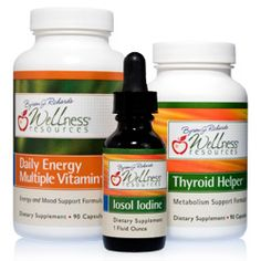 The Thyroid Energy Package includes one bottle of Thyroid Helper, one Iosol Iodine, and one Daily Energy Multiplevitamin. These nutritional supplements by Wellness Resources naturally improve thyroid hormone formation, weight loss, energy, and metabolism.