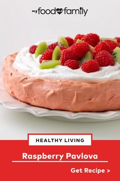 Whip up something light and fruity for dessert with this Raspberry Pavlova recipe! Named after a Russian ballerina, this pretty-in-pink dessert is topped with fresh raspberries and chopped kiwis and uses JELL-O Raspberry Flavor Gelatin for the main flavor. Top with COOL WHIP to prepare this beautiful centerpiece of a dessert.