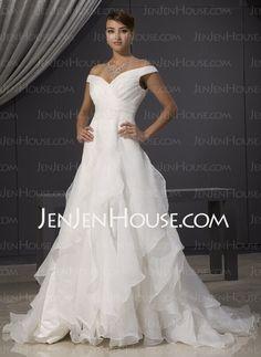Wedding Dresses - $172.99 - A-Line/Princess Sweetheart Chapel Train Organza Satin Wedding Dresses With Ruffle (002014481) http://jenjenhouse.com/A-line-Princess-Sweetheart-Chapel-Train-Organza-Satin-Wedding-Dresses-With-Ruffle-002014481-g14481