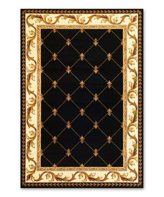Another great find on #zulily! Black Fleur-de-lis Rug by KAS Rugs #zulilyfinds