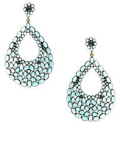 Jennifer Miller 14K Yellow Gold and Oxidized Silver Blue Topaz and Diamond Teardrop Pierced Earrings #Fashion #Style #Trends #Blue #Earrings #JenniferMillerJewelry #NYC #PalmBeach #Hamptons