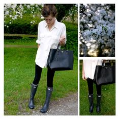 Hunter boots outfit for those uk rainy days. Hunter Boots Outfit, Hunter Rain Boots, Spring Summer Fashion, Autumn Winter Fashion, Fall Fashion, Spring Air, Winter Style, Country Casual, Mode Chic