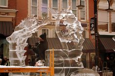 I carved this Queen of the Sea for the crowds at the Cripple Creek Ice Festival. #ice sculpture #TJ Maclaskey #iceworkshouston #cripple creek