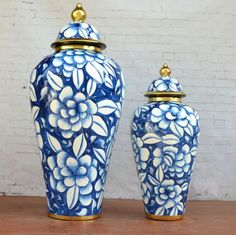 Handmade Floral Pattern Ceramic Large Decorative Jar, Pottery Romantics Home Decor Handpaint Blue & White Luxurious Floral Patter Container by LuvHandmadeAtelier on Etsy