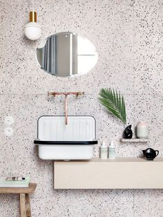 White terrazzo with black dots and copper fixtures for a a chic look. Terrazzo inspiration for home interiors and redecoration ideas. Cheap Home Decor, Bathroom Inspiration, Bathroom Decor, Bathroom Style, Tile Bathroom, Art Deco Bathroom, Trending Decor, Bathroom Design, Terrazzo