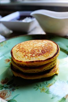 Cornmeal pancakes. Want. AFTER MAKING: very tasty, great with fruit. I'm sure they'd be nice with maple syrup too. A lot like a regular pancake but a little crisper!