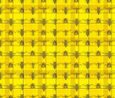 Tartan Bees (and Wasps!) fabric by feralkiwi on Spoonflower - custom fabric