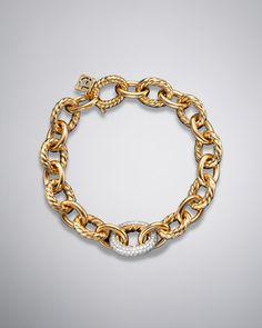 Oval Link Bracelet, Diamond, Large by David Yurman at Neiman Marcus.