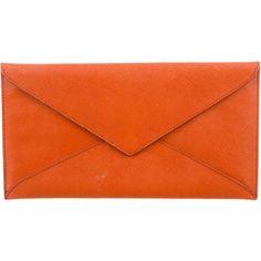 Pre-owned Prada Saffiano Envelope Clutch ($200) ❤ liked on Polyvore featuring bags, handbags, clutches, orange, prada pochette, snap purse, pre owned handbags, envelope clutch and prada