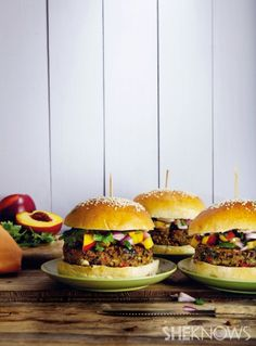 recipe for island black bean burgers with nectarine salsa - I had the burgers but not the salsa, it was delicious!