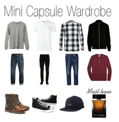 """""""Guy Mini Basic Capsule"""" by capsulemethod ❤ liked on Polyvore featuring L.L.Bean, Polo Ralph Lauren, Icebreaker, River Island, DC Shoes, Off-White, Brooks Brothers, Caterpillar, Converse and Dolce&Gabbana"""