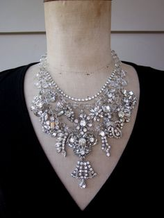 Vintage Rhinestone Necklace Wedding Jewelry  by rebecca3030, $189.00