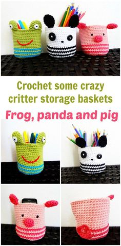 Free crochet patterns for a frog, panda and pig, crazy critters storage baskets.  Brighten up your desk with these amigurumi baskets.