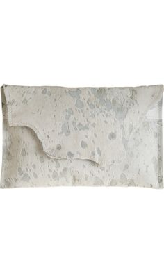Deborah Barnet Acid Washed Clutch - white with silver