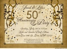This festive 50th anniversary party invitation celebrates your wedding event in personalized style! Custom colors (shown as ivory, brown & golden shades on the main example) with streamer, confetti & glitter-like graphics add to your special party theme.