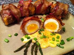 Bacon-Wrapped Scotch Eggs with Hollandaise and Asparagus