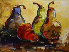 'Two Pair' Pears Oil Painting, Fruit Art by Texas Artist Laurie Pace -- Laurie Justus Pace