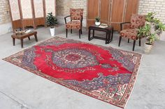 """Turkish Floral Rug Vintage Moroccan Hooked Area Rug, 6'5"""" x 9'1"""", Code: 053010 large rug Floral Vintage, Vintage Rugs, Large Rugs, Small Rugs, Antique Farmhouse, Floral Rug, Tribal Rug, Rugs Online, Hand Knotted Rugs"""