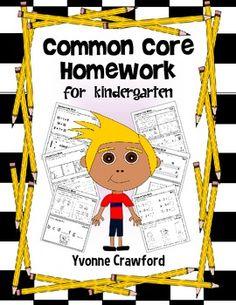Common Core Homework for Kindergarten $