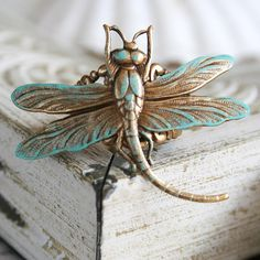 THE DRAGONFLY Victorian fantasy aged brass dragonfly finger ring with aqua patina accents.