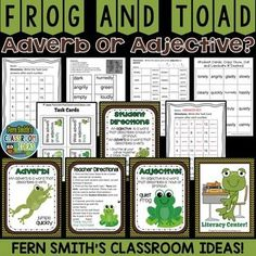 Frog and Toad: Frog and Toad Adjective or Adverb? Frog and Toad Resource of Task Cards, Center Game, Printables and Interactive Notebook Activities for Frog and Toad! Answer Keys Includes! #TpT #FernSmithsClassroomIdeas