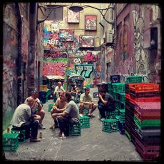 melbourne laneways, in melbourne, it is considered cool to be sitting on a milk crate, sipping on your coffee Melbourne Laneways, Melbourne Art, Melbourne Victoria, Victoria Australia, Australia Living, Australia Travel, Places To Go, Street Art, Adventure