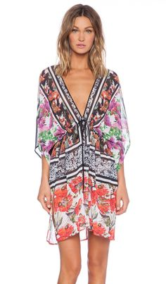 Clover Canyon Floral Scarf Print Cover Up in Multi