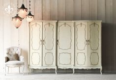 Eloquence, Inc. ARV5302- Vintage Armoire Gorgeous vintage wardrobe armoire in the most fantastic muted mint cream finish, with subtle oxidized highlights accenting the hand-carved details. Would be a great place to hold your most princess worthy outfits! 73H x 101W x 25D
