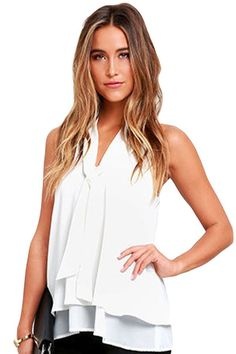 Prix: €13.46 Tops Clubwear Blanc Double Cascading Ruffle Neck Tie Top Sans Manches Modebuy.com @Modebuy #Modebuy #sexy #me #Blanc #liker #basprix #likeback #Rouge #like #model #outfit #followhim #style #robes #girl