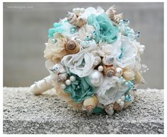 SALE // Seashells Wedding Bouquet for Beach by IrenDesigns on Etsy
