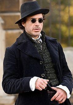 "Holmes (Robert Downey Jr.) in Brompton Cemetery, London, during filming of ""Sherlock Holmes"""