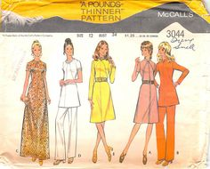 MCCALL'S 3044 - FROM 1971 - UNCUT - MISSES DRESS OR TUNIC AND PANTS