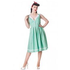 Deze fijne jurk is van luchtig katoen en kan gedragen worden op elke gelegenheid! De jurk heeft een mooie laag uitgesneden rug en een V-hals. In vintage mintgroen. Ritssluiting in de zij.