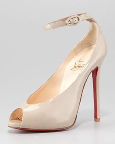 X1G6V Christian Louboutin Rampoldi Ankle-Strap Red Sole Pump, Stone  #celebstylewed #bridal #weddings