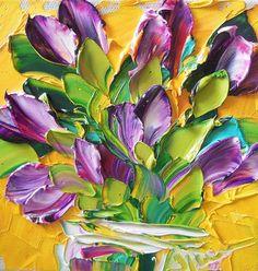 Oil Painting Purple on Yellow Tulips Art Still life Wall Art Oil Paintings, Abstract Paintings, Yellow Tulips, Traditional Paintings, Palette Knife, Texture Painting, Abstract Watercolor, Painting Inspiration, Flower Art